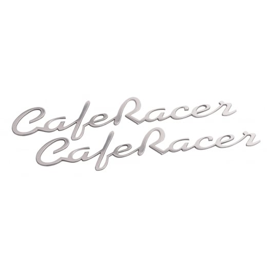 Motone Cafer Race - Petrol Tank / Side Panel Emblem Set - Silver - Pair