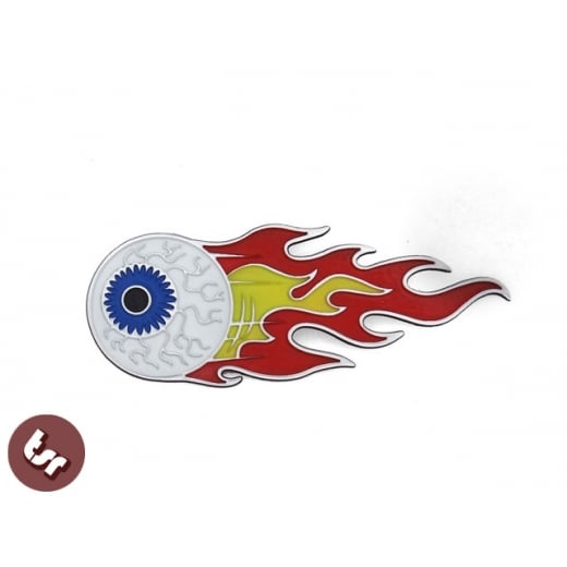 Flaming Eyeball HotRod CNC Badge/Emblem Legshield/Panel fits VESPA/LAMBRETTA/Car