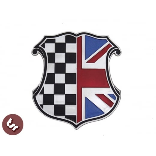 HOT ROD/MINI/VESPA/LAMBRETTA Billet CNC Racing Union Jack Shield Badge Emblem