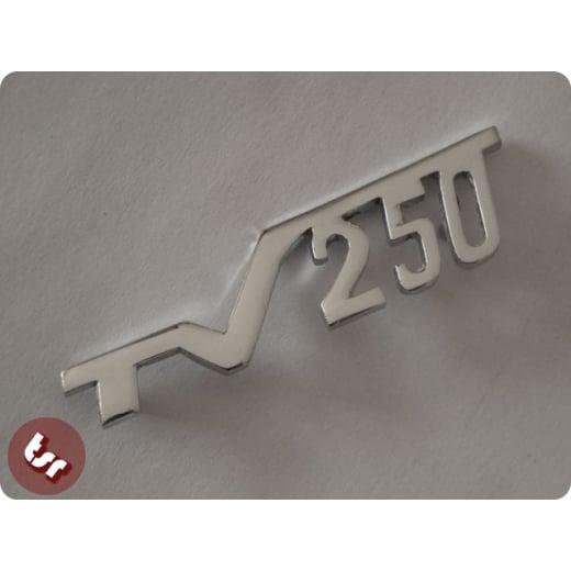 LAMBRETTA Legshield Badge 'TV250' Chrome