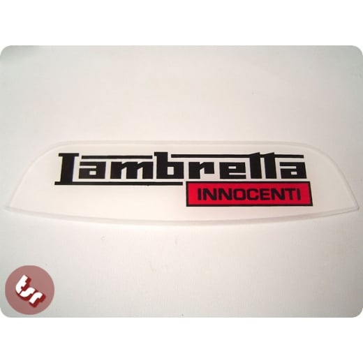 LAMBRETTA Rear Frame Plastic Badge 'Innocenti' Red