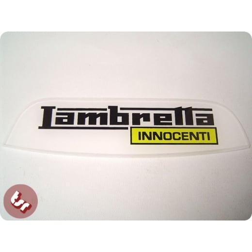 LAMBRETTA Rear Frame Plastic Badge 'Innocenti' Yellow SX/LI/TV