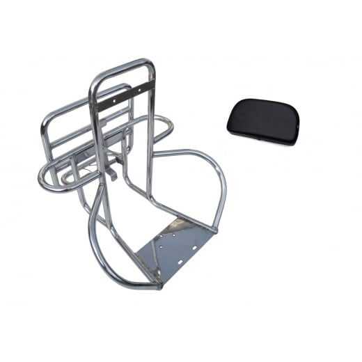 LAMBRETTA Stainless Steel Rear Luggage Rack Carrier Wheel Holder Back Rest 4in1+Pad