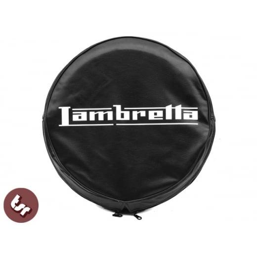 """LAMBRETTA TSR 10"""" Spare Wheel Cover Custom Graphic On Black"""