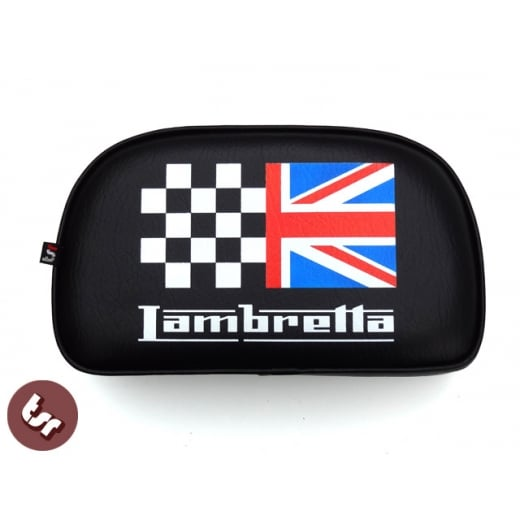 Lambretta TSR Rear Rack Back Rest Pad Union Jack Racing Flag Bolt-On