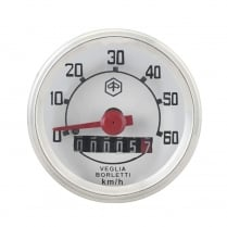 VESPA Round Speedo/Speedometer 60kph White Face/Red Text V50/V90/V100