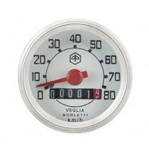 VESPA Round Speedo/Speedometer 80kph White Face/Red Text V50/V90/V100