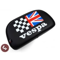 VESPA TSR Rear Rack Back Rest Pad Union Jack Racing Flag Bolt-On