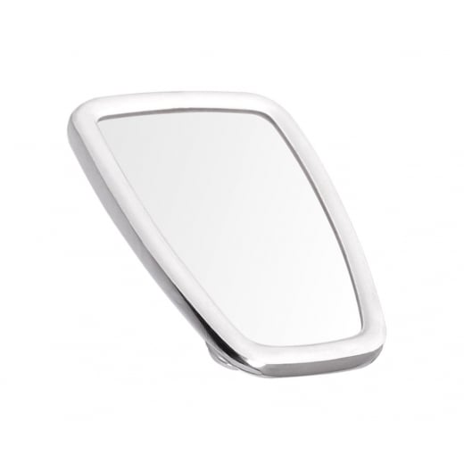 SCOOTER Chromed Rectangle Stadium Mirror Head White Rubber Surround MOD