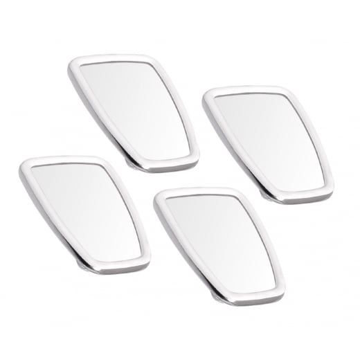 SCOOTER Chromed Rectangle Stadium Mirror Head White Rubber Surround MOD x4