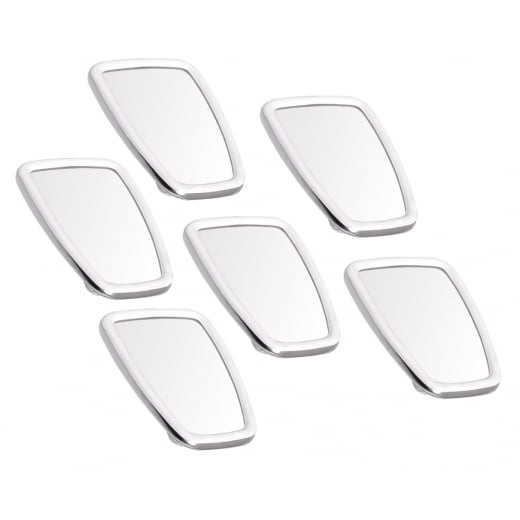 SCOOTER Chromed Rectangle Stadium Mirror Head White Rubber Surround MOD x6