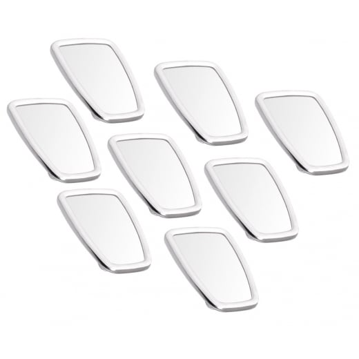 SCOOTER Chromed Rectangle Stadium Mirror Head White Rubber Surround MOD x8