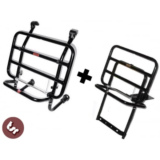 VESPA Black Front+Rear Rack Luggage Carriers PX/LML/T5