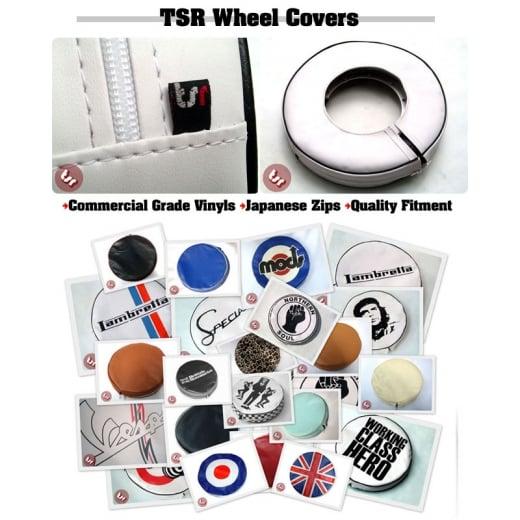 """VESPA/LAMBRETTA 10"""" Spare Wheel Cover Black/White Pipe"""