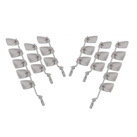 "VESPA/LAMBRETTA 22xChrome Stadium Mirror Heads with 4x14""+ 2x24"" Stems and 6xBrackets"
