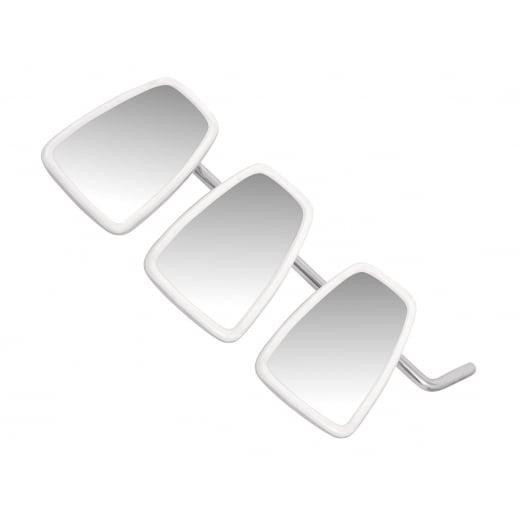 "VESPA/LAMBRETTA Set of 3 Chrome Stadium Mirror Heads and 14"" Inch Mirror Stem MOD"