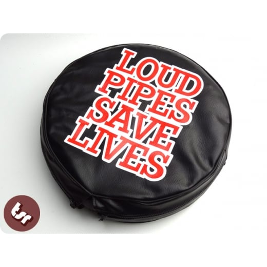 "VESPA/LAMBRETTA TSR 10"" Spare Wheel Cover Loud Pipes Save Lives"