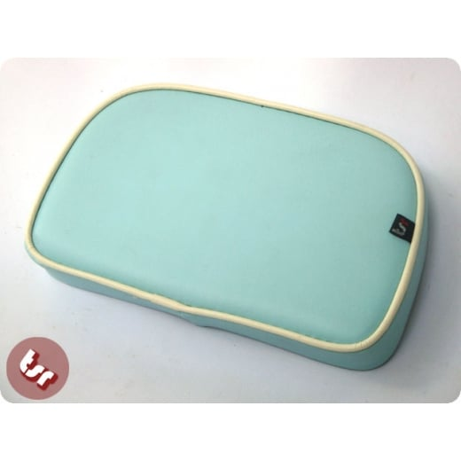 VESPA/LAMBRETTA TSR Rear Rack Back Rest Seat Pad Baby Blue/Cream