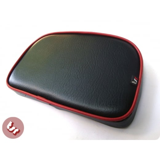 VESPA/LAMBRETTA TSR Rear Rack Back Rest Seat Pad Black/Red