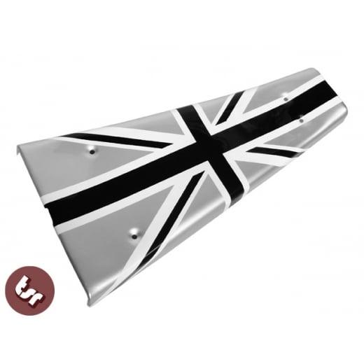 VESPA PX/LML/T5 Custom Centre Mat/Metal Floor Plate Union Jack Pro Paint B/W