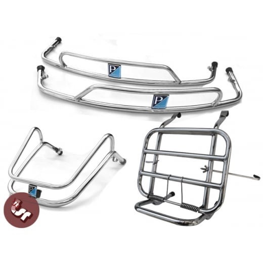VESPA PX/LML/T5 STAINLESS Mudguard+Panel Crash Bar+Rack