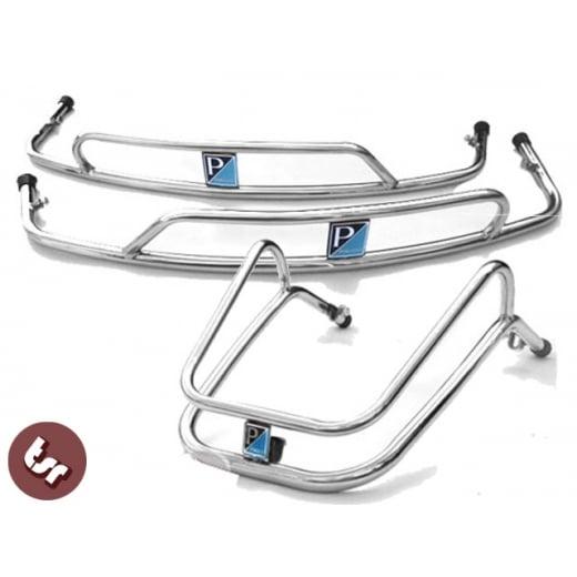 VESPA PX/LML/T5 STAINLESS Steel Mudguard+Side Panel Crash Bar Kit+Badges