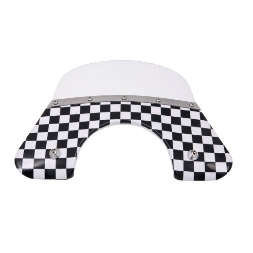 VESPA QUALITY TSR B/W CHEQUERED Flyscreen PX/LML/T5 + Stainless Fixings 125/200 mod