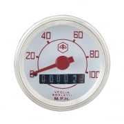 VESPA Round Speedo/Speedometer 100mph White Face/Red Text V50/V90/V100