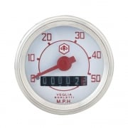 VESPA Round Speedo/Speedometer 50mph White Face/Red Text V50/V90/V100