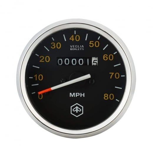 VESPA Round Speedo/Speedometer 80mph Black Face/Yellow Text P200E/PX125/PX150