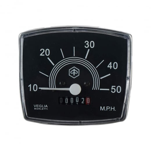 VESPA Special Speedo/Speedometer 50mph Black Face/White Text V50/V90/V100