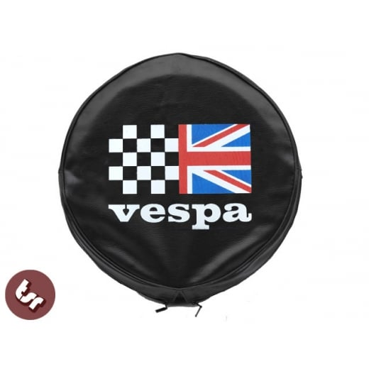 "VESPA TSR 10"" Spare Wheel Cover - Custom Racing Union Jack Flag on Black"
