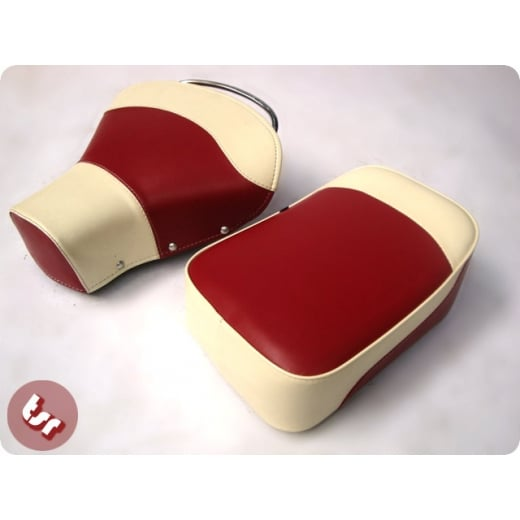 VESPA TSR Front Saddle Rear Seat Set 2 Tone Oxblood Red/Cream PX/VBB/VLB