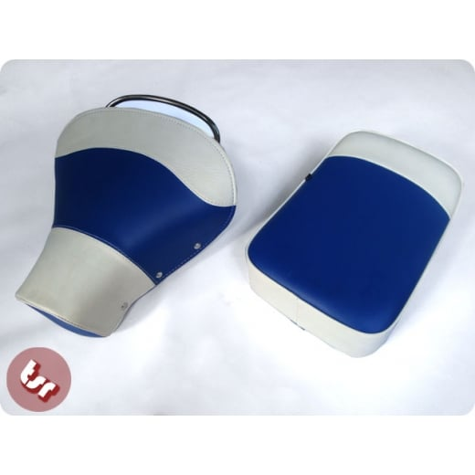 VESPA TSR Front Saddle Rear Seat Set Blue/White PX/VBB