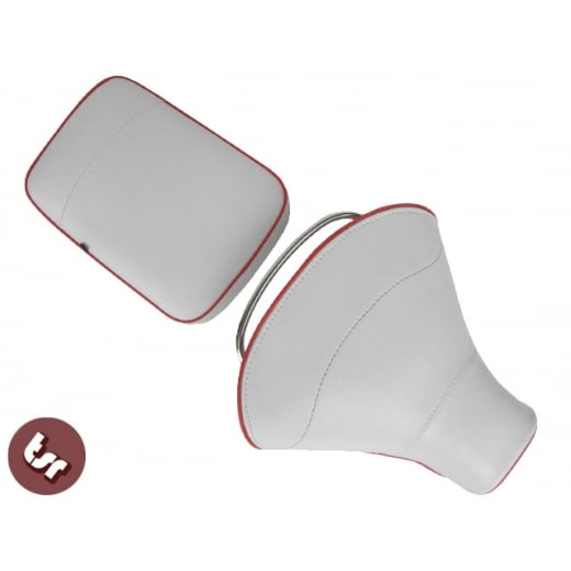 VESPA TSR Front Saddle with Rear Seat White/Red VBB/PX/SPRINT