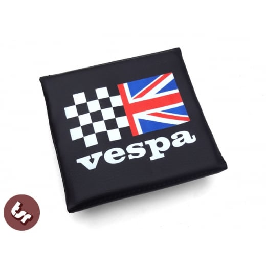 VESPA TSR Rear Flip Flop Rack Back Rest Pad Union Jack/Racing Flag
