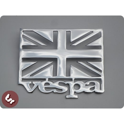 VESPA+Union Jack Flag Chrome Side Panel/Legshield Badge