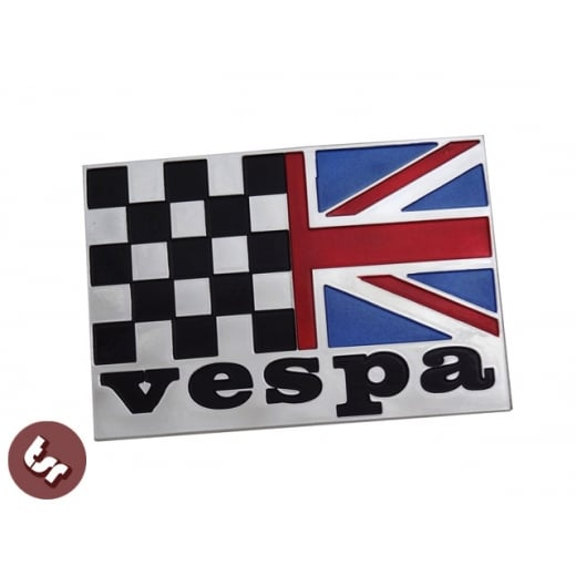 VESPA Union Jack Race Flag Billet CNC Side Panel/Legshield Badge/Emblem PX/LML