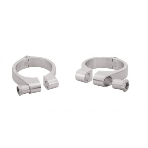 Motone Wrap-Around Fork Indicator Turn Signal Bracket Clamps - Pair - 49mm - Brushed